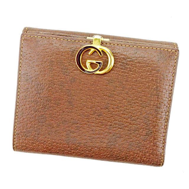 5df72259a94b 【中古】 【送料無料】 グッチ Gucci 二つ折り 財布 Wホック メンズ可
