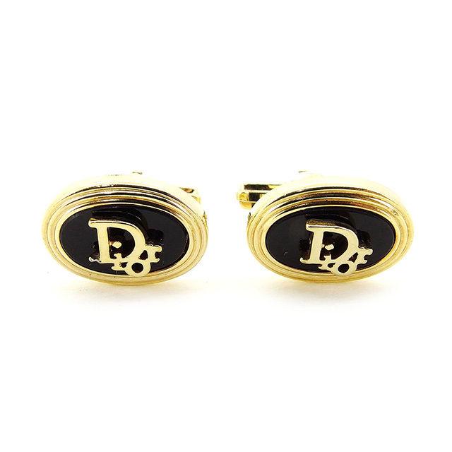 【中古】 【送料無料】 ディオール カフス レディース メンズ 可 ロゴ ゴールド×ブラック ゴールドメッキ Christian Dior T2999 .