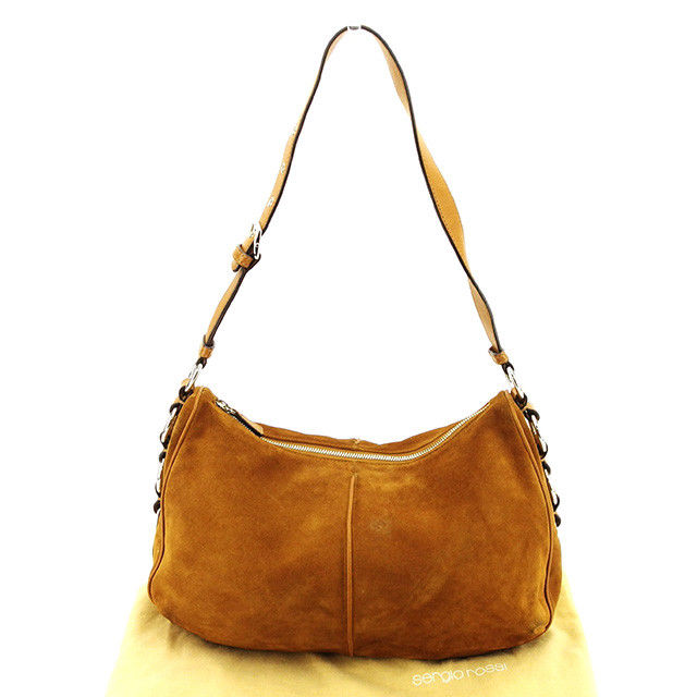b5fb2eea0b15 Sergio Rossi Sergio Rossi shoulder bag one shoulder Lady s side logo plate  brown X silver suede X leather popularity T3035s