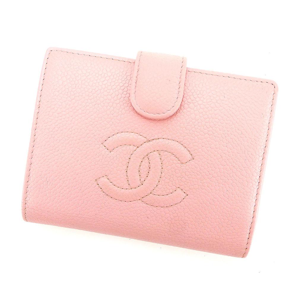【中古】 【送料無料】 シャネル がま口 財布 二つ折り メンズ可 キャビアスキン ピンク レザー Chanel T3062 .