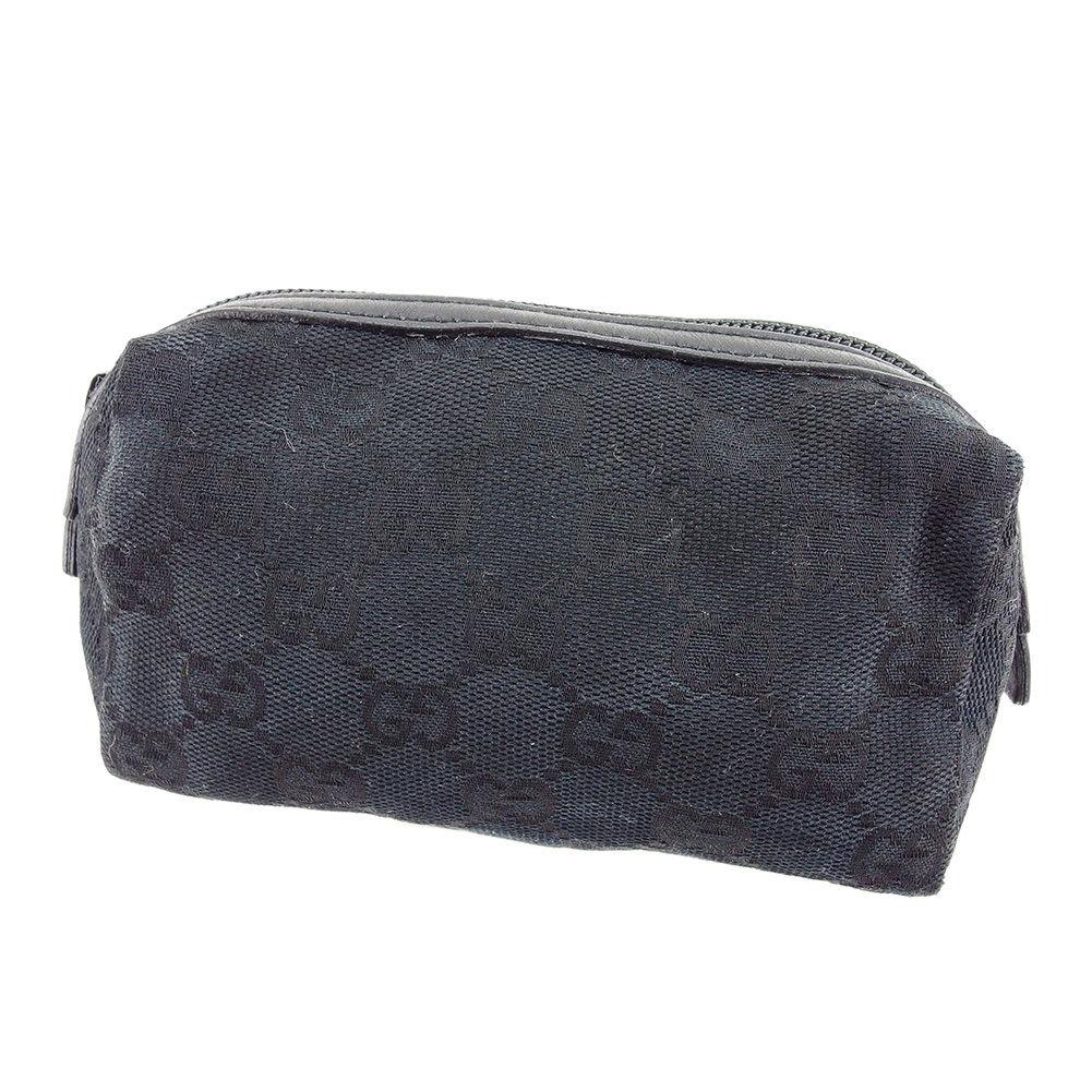 15bfdd69d6d873 Gucci Gucci porch makeup porch men's possible GG canvas black canvas X  leather beauty product sale T3082