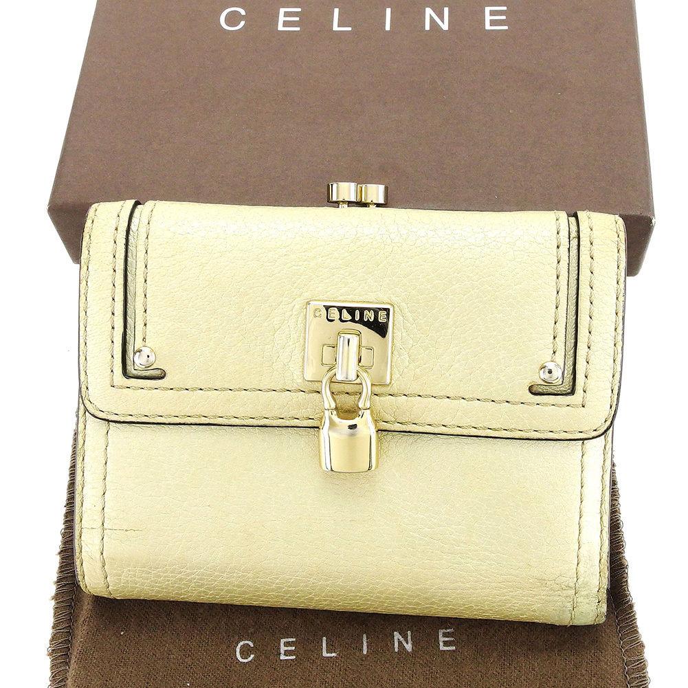 【中古】 セリーヌ がま口財布 さいふ 三つ折り 財布 さいふ ライトゴールド レザー Celine がま口 財布 さいふ サイフ コンパクト 財布 さいふ ユニセックス 小物 迅速発送 在庫処分 1点物 T3106