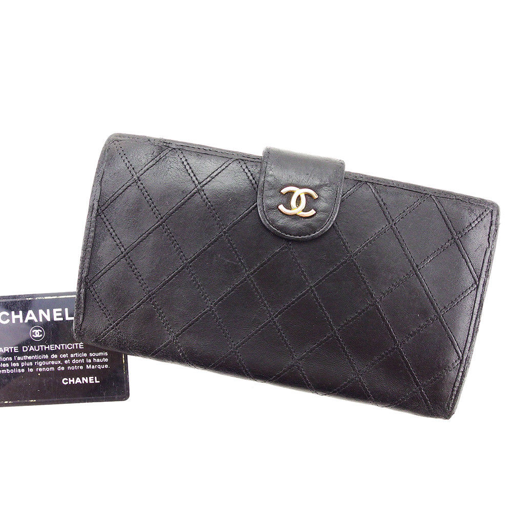 4e14182bf73f Chanel CHANEL long wallet wallet pouch old Chanel Lady s double stitch here  mark black X gold leather vintage popularity T3149.