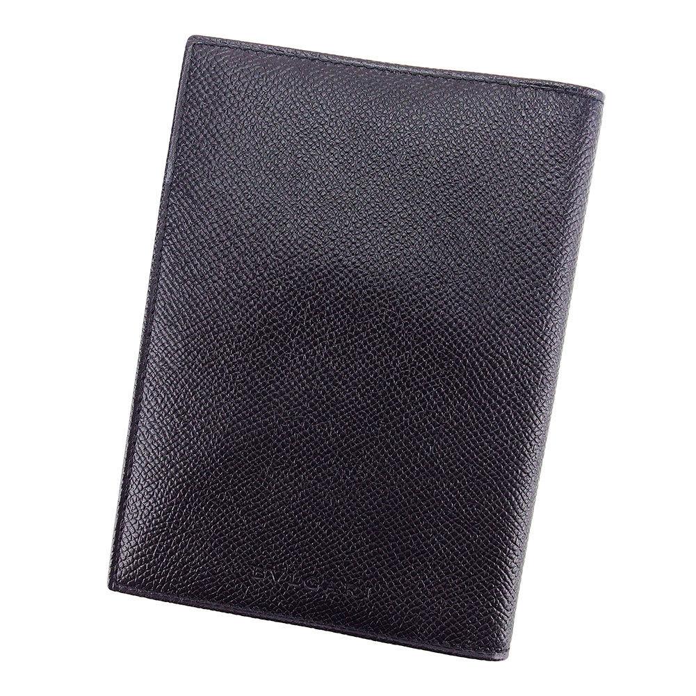 【中古】 【送料無料】 ブルガリ パスポート カバー レディース メンズ 可 ブラック レザー Bvlgari T3182 .