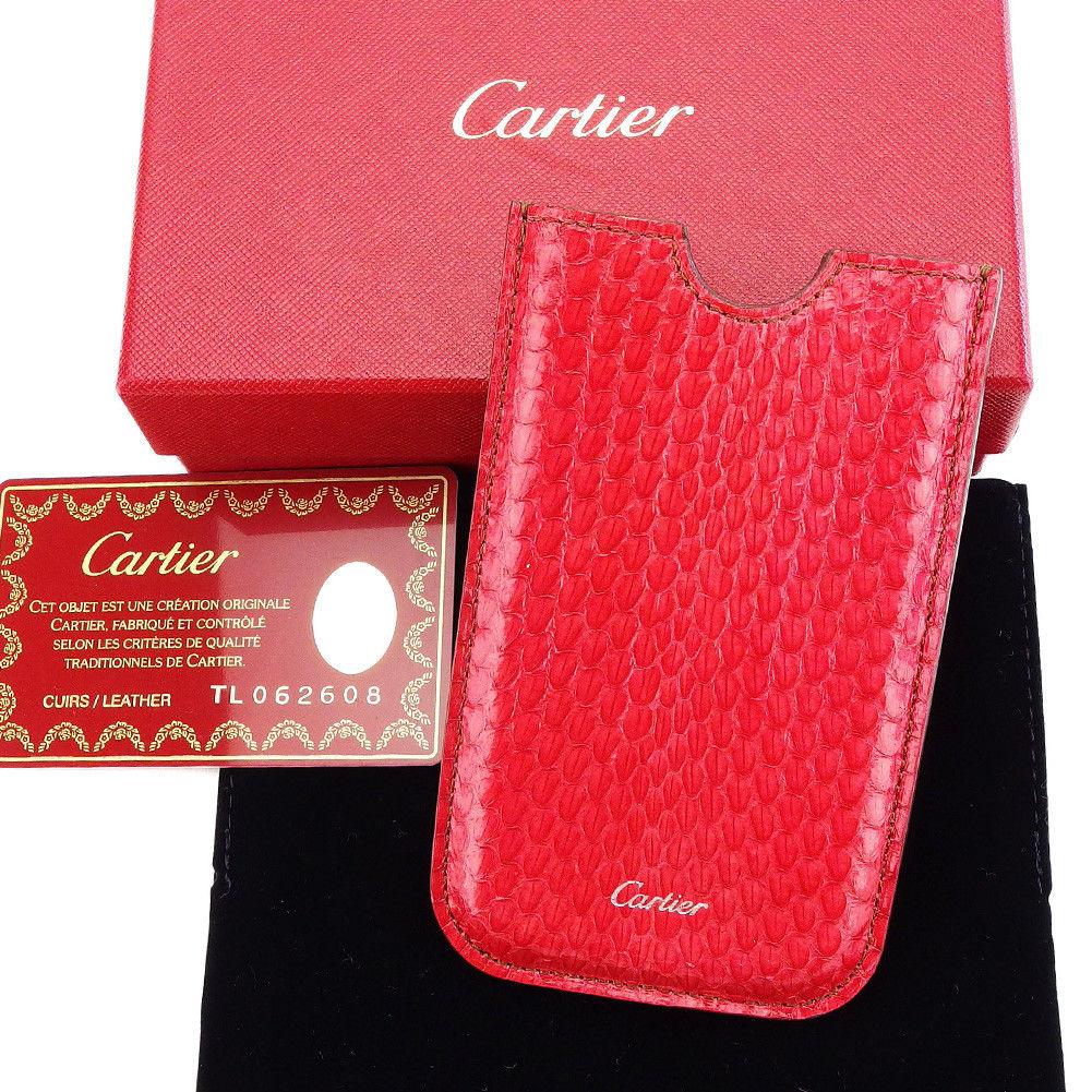 【中古】 【送料無料】 カルティエ スマートフォンケース カードケース レディース メンズ 可 パイソン型押し レッド PVC×レザー Cartier T3214 .