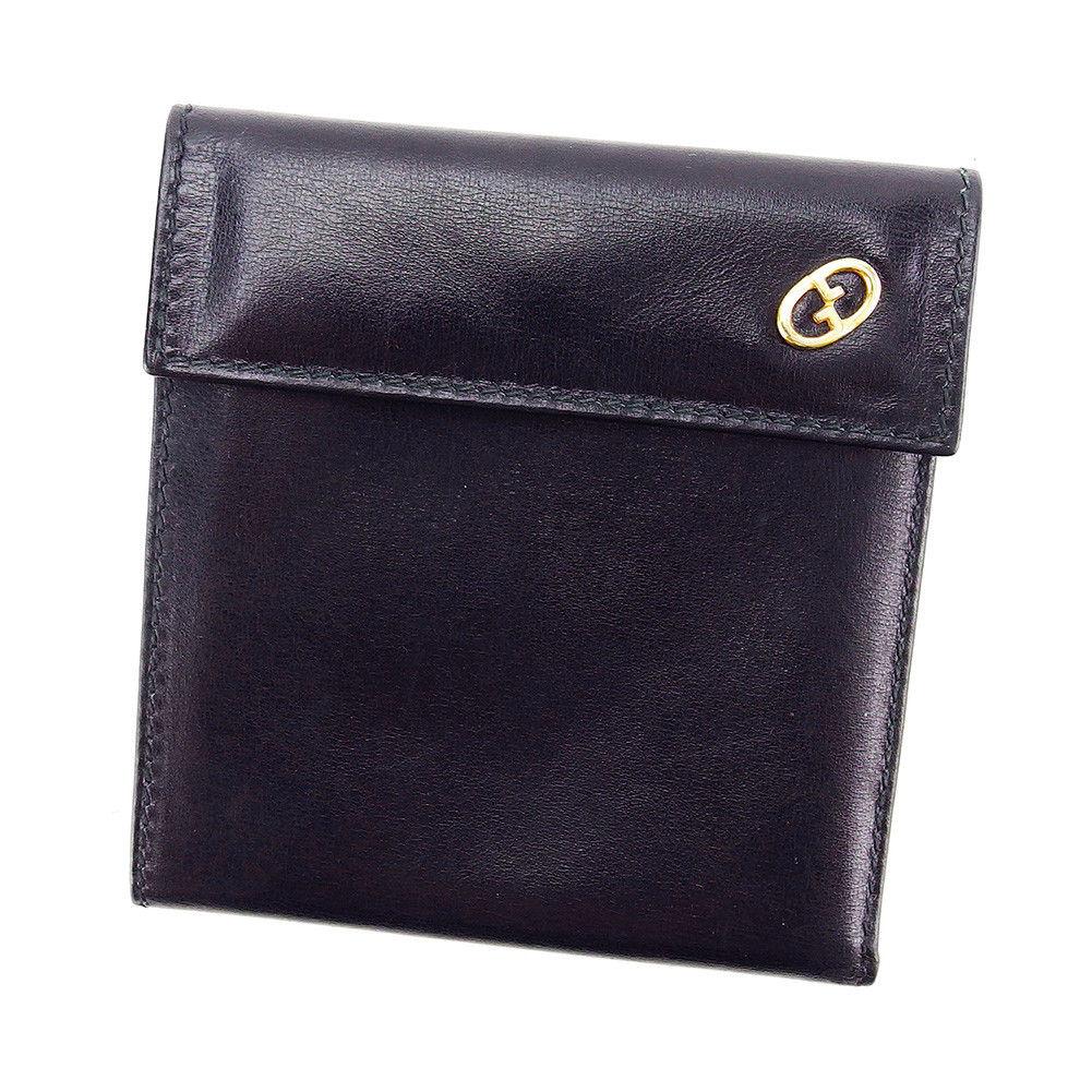 【中古】 【送料無料】 グッチ 二つ折り 財布 三つ折り レディース メンズ 可 ブラック レザー Gucci T3220 .