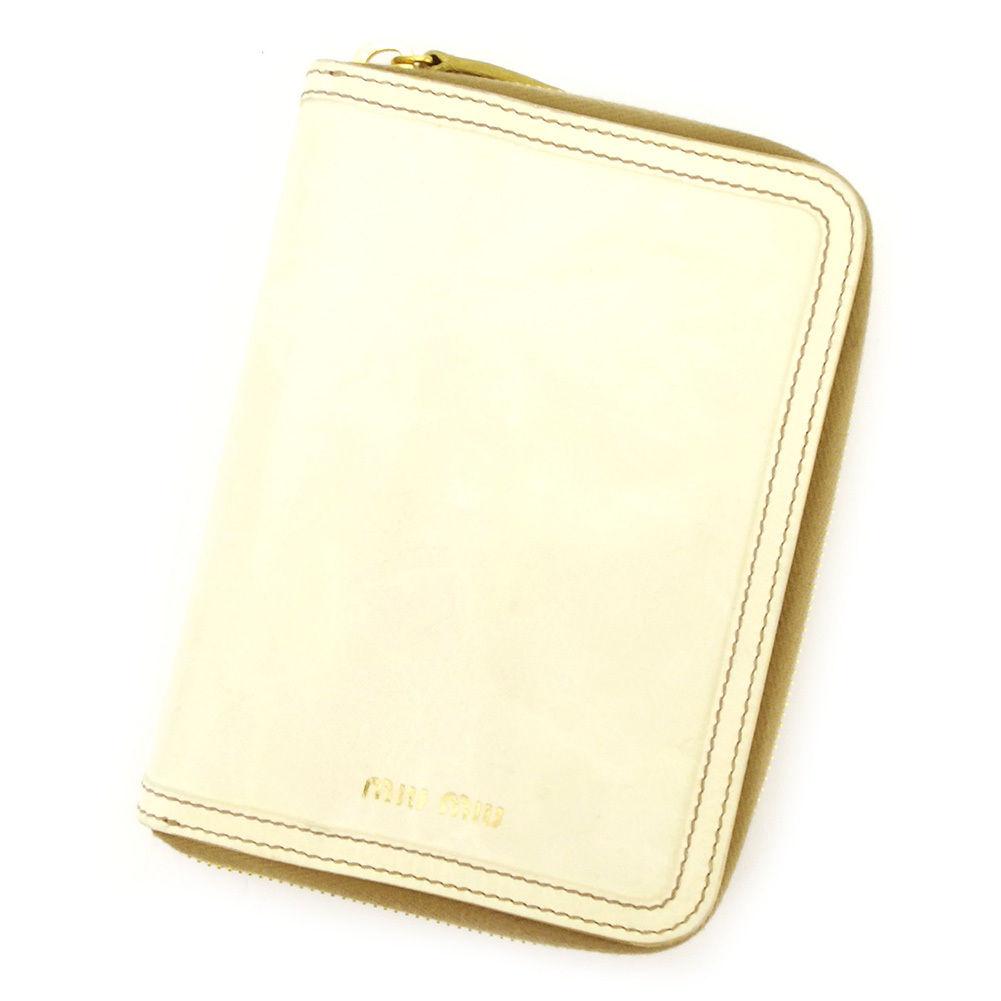 【中古】 【送料無料】 ミュウミュウ 手帳カバー レディース メンズ 可 ロゴ オフホワイト レザー Miu Miu T3228 .