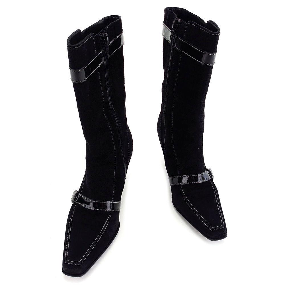 【中古】 【送料無料】 サルヴァトーレ フェラガモ Salvatore Ferragamo ブーツ #4 1/2C レディース ヴァラ ブラック スエード×エナメル 人気 T3230