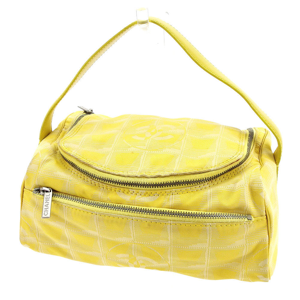 5e010af658f Chanel CHANEL vanity makeup porch handbag Lady's current style bell line  yellow X silver nylon jacquard ...