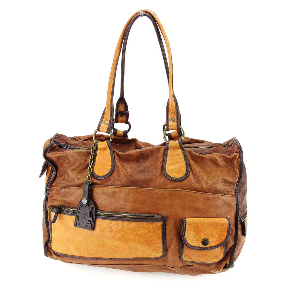 ccd5aed2dfe3 Leather popularity T3322 of Dolce   Gabbana DOLCE GABBANA shoulder bag  Boston bag Lady s vintage processing Brown line.