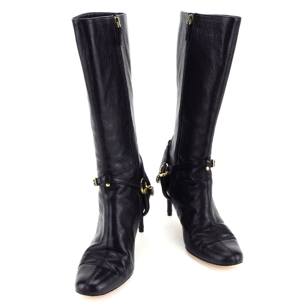 88f0c0af2b5 Gucci GUCCI boots  36 1 2 Lady s long boots black X gold leather popularity  quality goods T3337