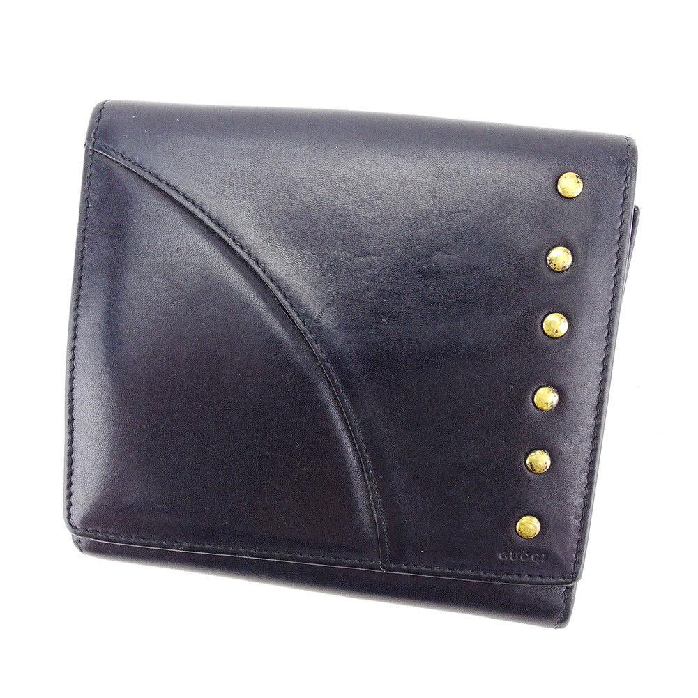 【中古】 【送料無料】 グッチ Wホック 財布 二つ折り 財布 メンズ可 ブラック レザー Gucci T3346 .