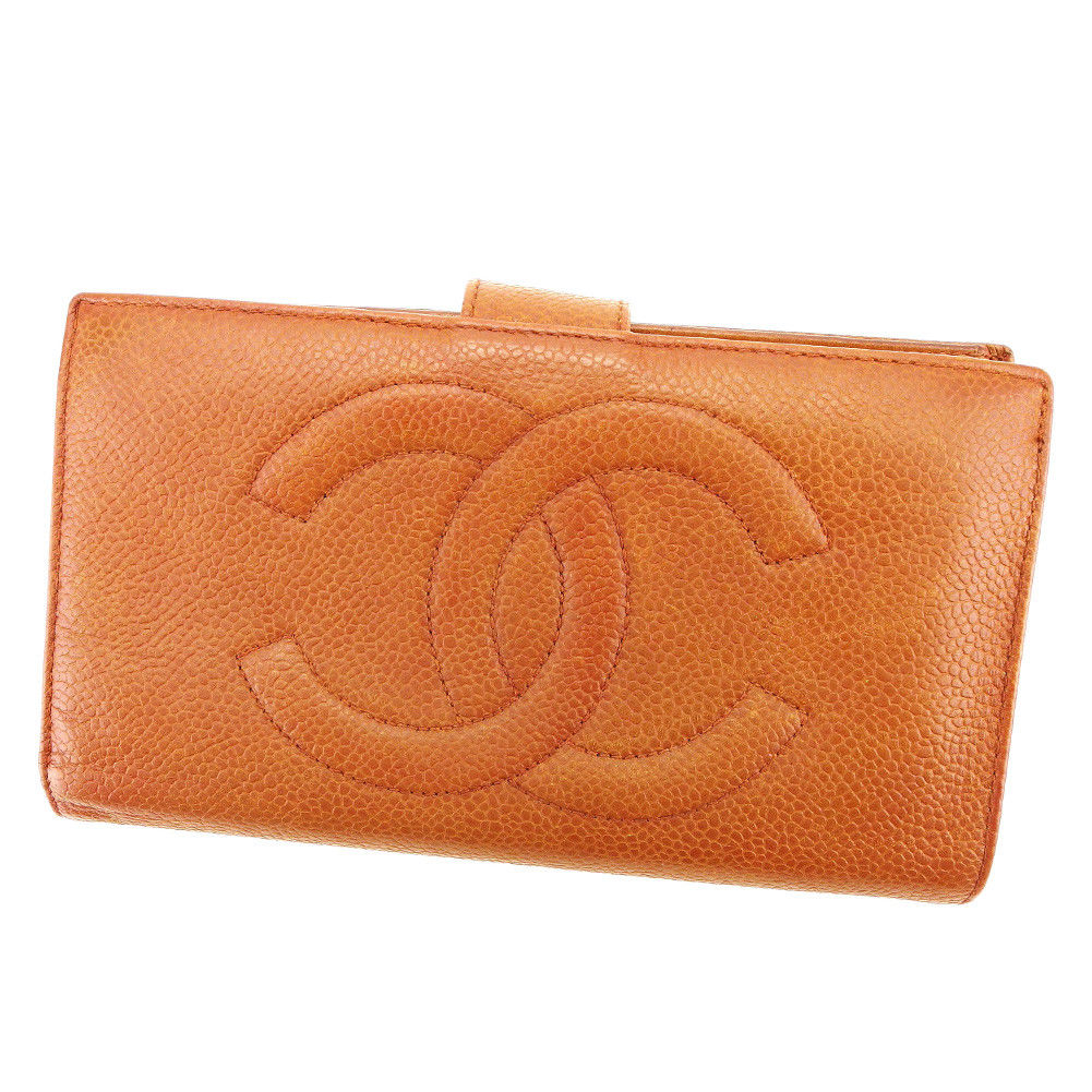 【中古】 【送料無料】 シャネル がま口財布 長財布 レディース メンズ 可 キャビアスキン×ココマーク ブラウン レザ- Chanel T3364