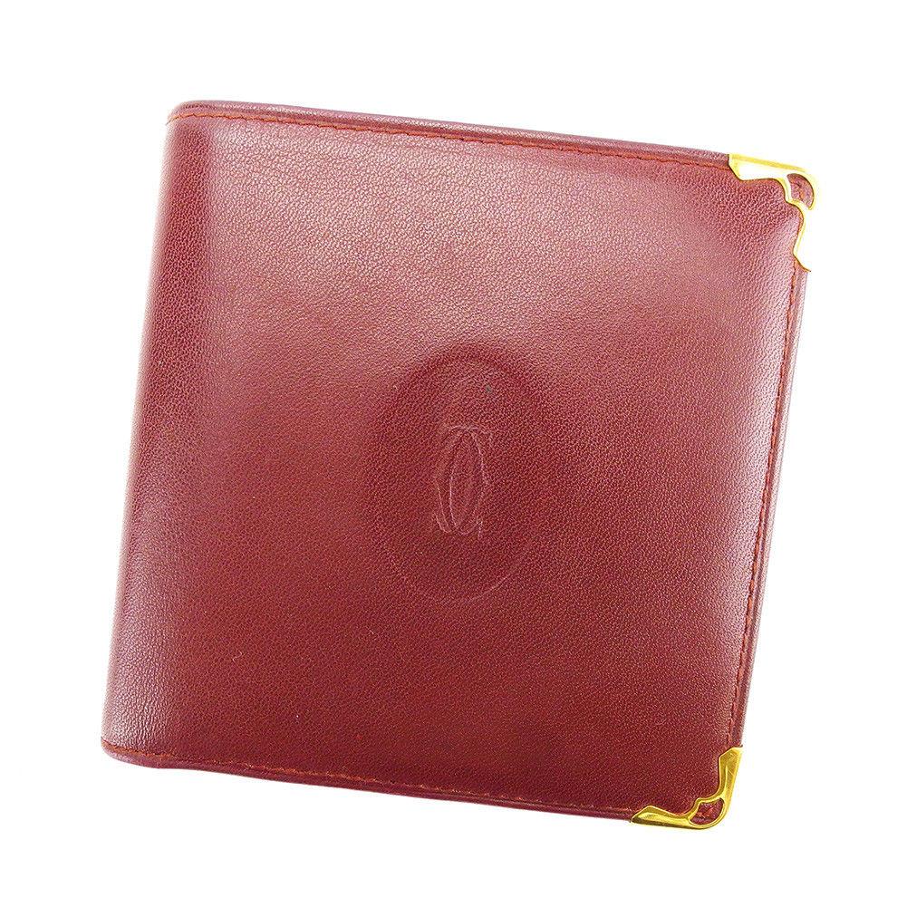 【中古】 【送料無料】 カルティエ 二つ折り 財布 レディース メンズ 可 マストライン ボルドー×ゴールド レザー Cartier T3513 .