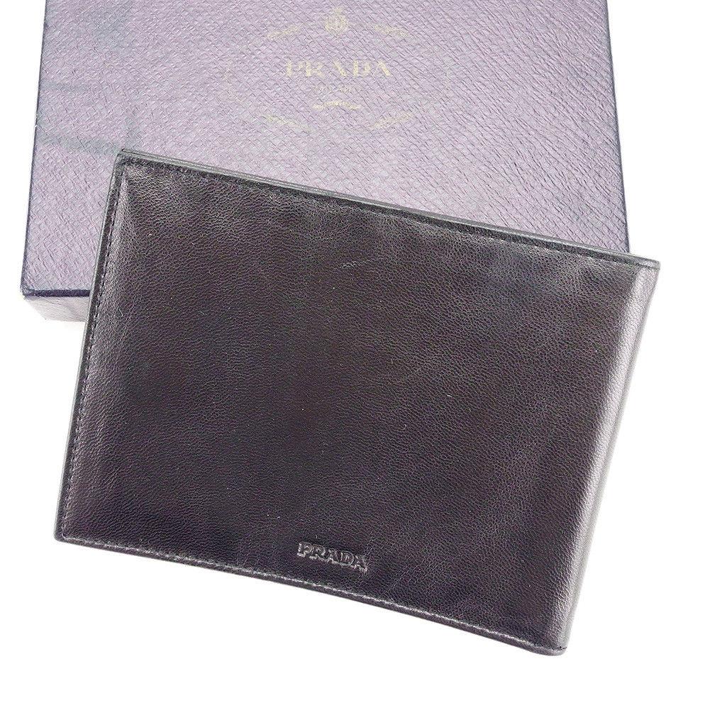 【中古】 【送料無料】 プラダ PRADA 二つ折り 札入れ メンズ ロゴ ブラック レザー 美品 T3523 .