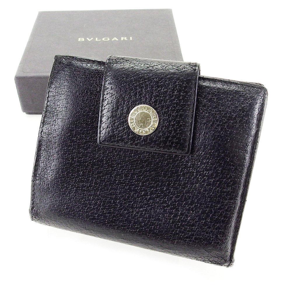 【中古】 【送料無料】 ブルガリ 二つ折り 財布 レディース メンズ 可 ロゴボタン ブラック×シルバー レザー Bvlgari T3536 .