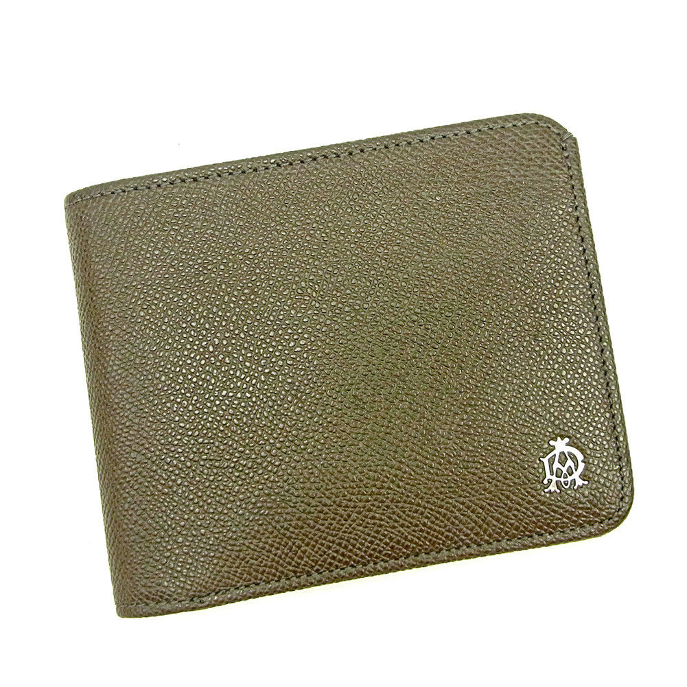 【中古】 【送料無料】 ダンヒル 二つ折り 札入れ 二つ折り 財布 メンズ可 ブラウングレー レザー Dunhill T3653 .