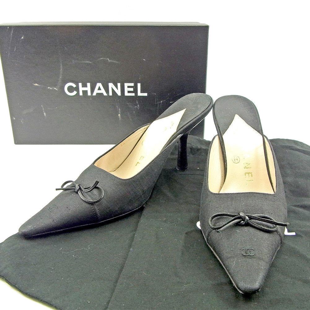 【中古】 【送料無料】 シャネル ミュール #36 レディース ココマーク ブラック キャンバス Chanel T3748 .