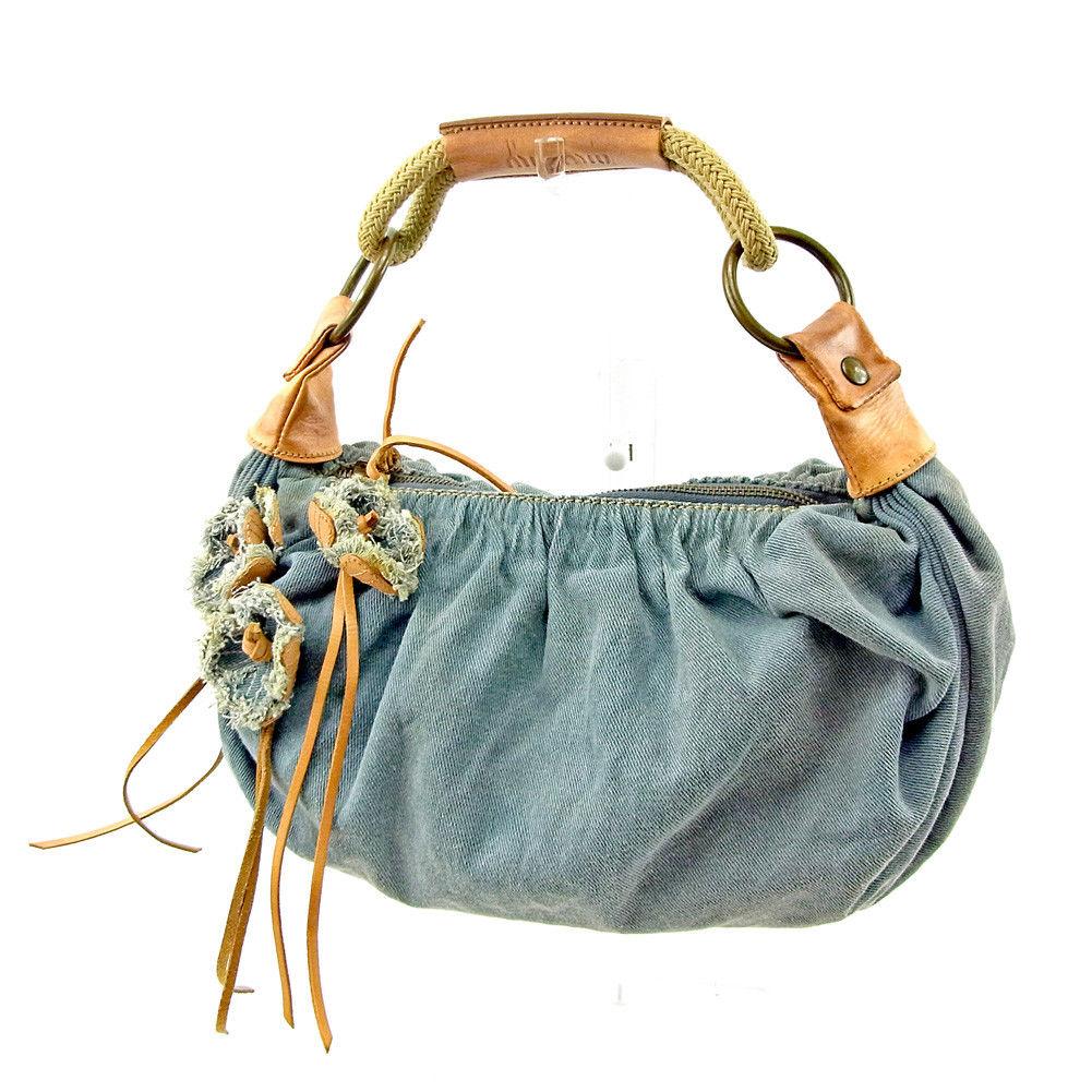 夏 プレゼント 中古 ミュウミュウ 日本製 ハンドバッグ 新着セール ワンショルダー キャンバス×レザー T3776 . ブルー×ベージュ miu フラワーモチーフ