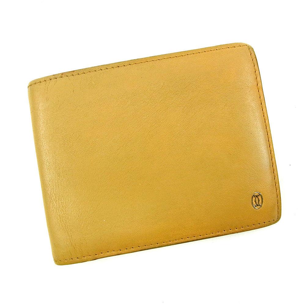 【中古】 【送料無料】 カルティエ 二つ折り 札入れ 二つ折り 財布 レディース メンズ 可 パシャ ベージュ レザー Cartier T3781 .