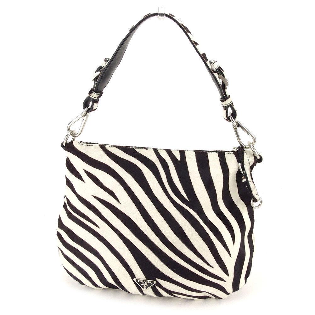 Prada PRADA shoulder bag one shoulder Lady s triangle logo zebra off-white  X dark brown X silver Harako quality goods sale T3852 14f7d41820fa3