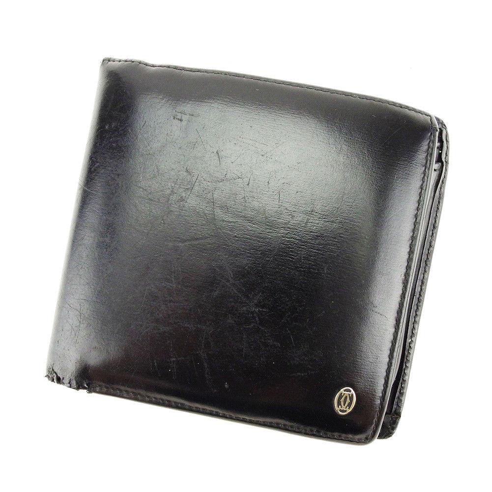 【中古】 【送料無料】 カルティエ 二つ折り 財布 メンズ パシャ ブラック×シルバー レザー Cartier T3907 .