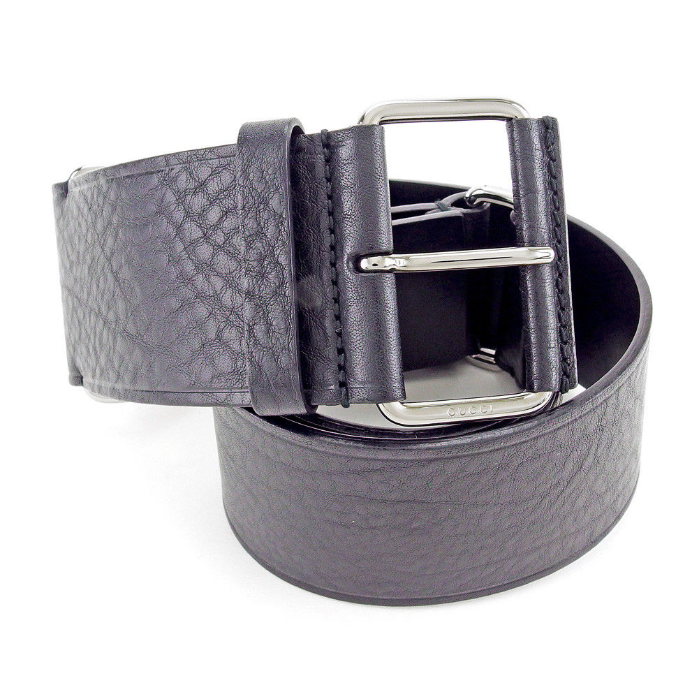 53d7cec380c03 Gucci GUCCI belt ♯ 75 30 size Lady s large belt black X black silver  leather X black silver metal fittings beauty product sale T4067
