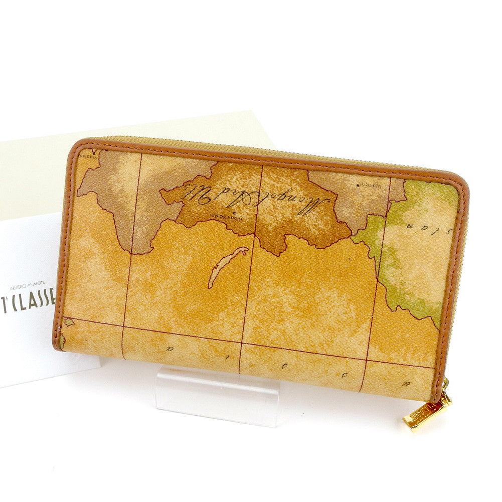 【中古】 プリマクラッセ 長財布 さいふ 財布 さいふ ラウンドファスナー 地図柄 ベージュ系×ブラウン×ゴールド PVC×レザー PRIMA CLASSE T4297