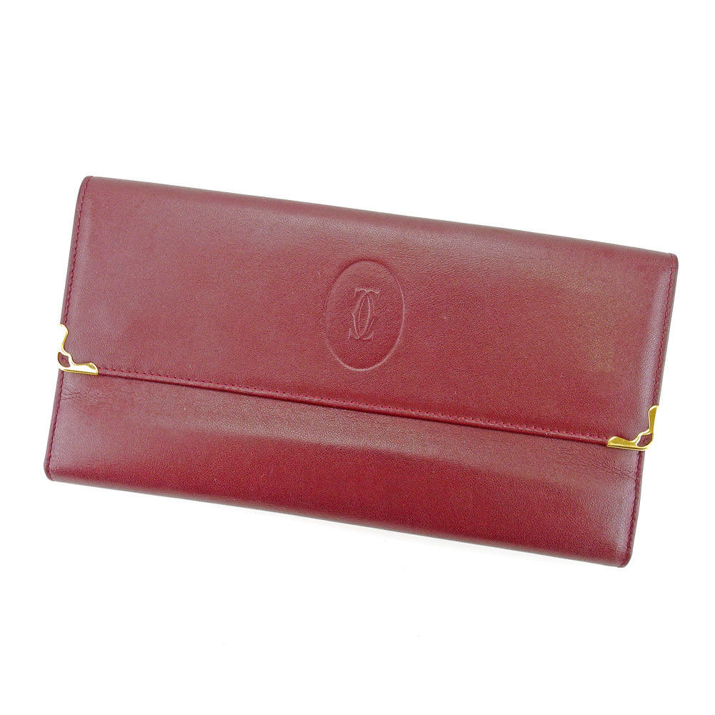【中古】 【送料無料】 カルティエ Cartier 長財布 財布 がま口 三つ折り レディース メンズ 可 マストライン ボルドー×ゴールド レザー 良品 T4371