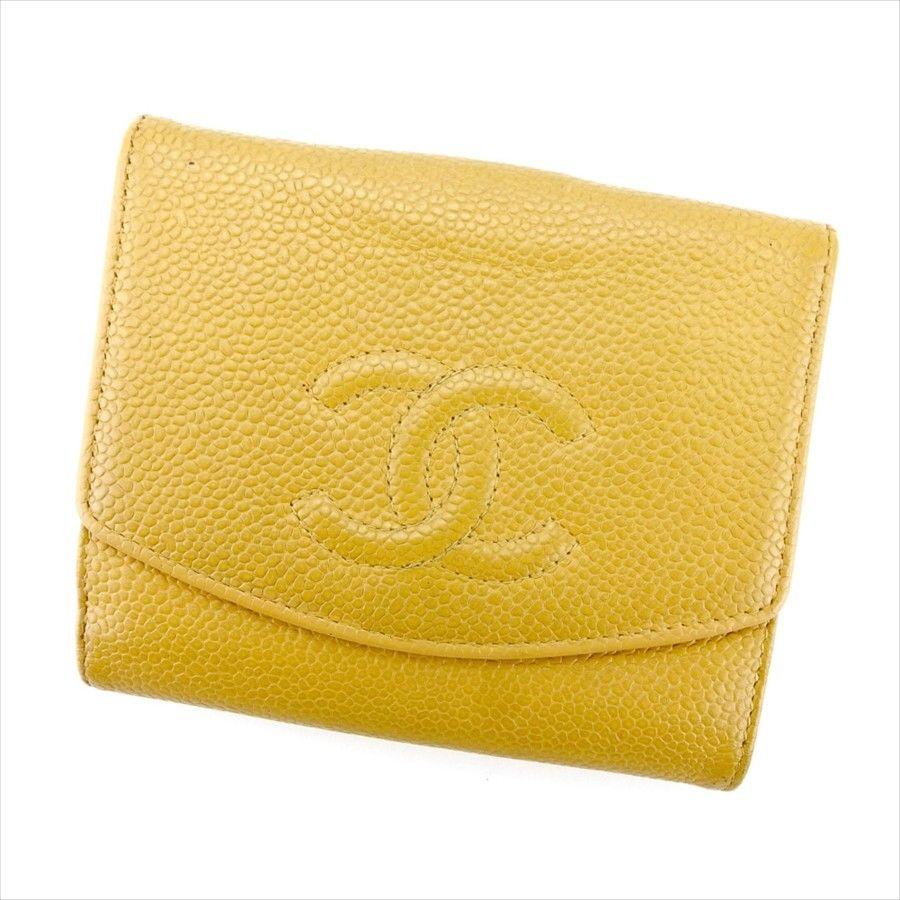 【中古】 【送料無料】 シャネル Wホック 財布 二つ折り レディース メンズ 可 ココマーク オールドシャネル ベージュ キャビアスキン Chanel T4379 .