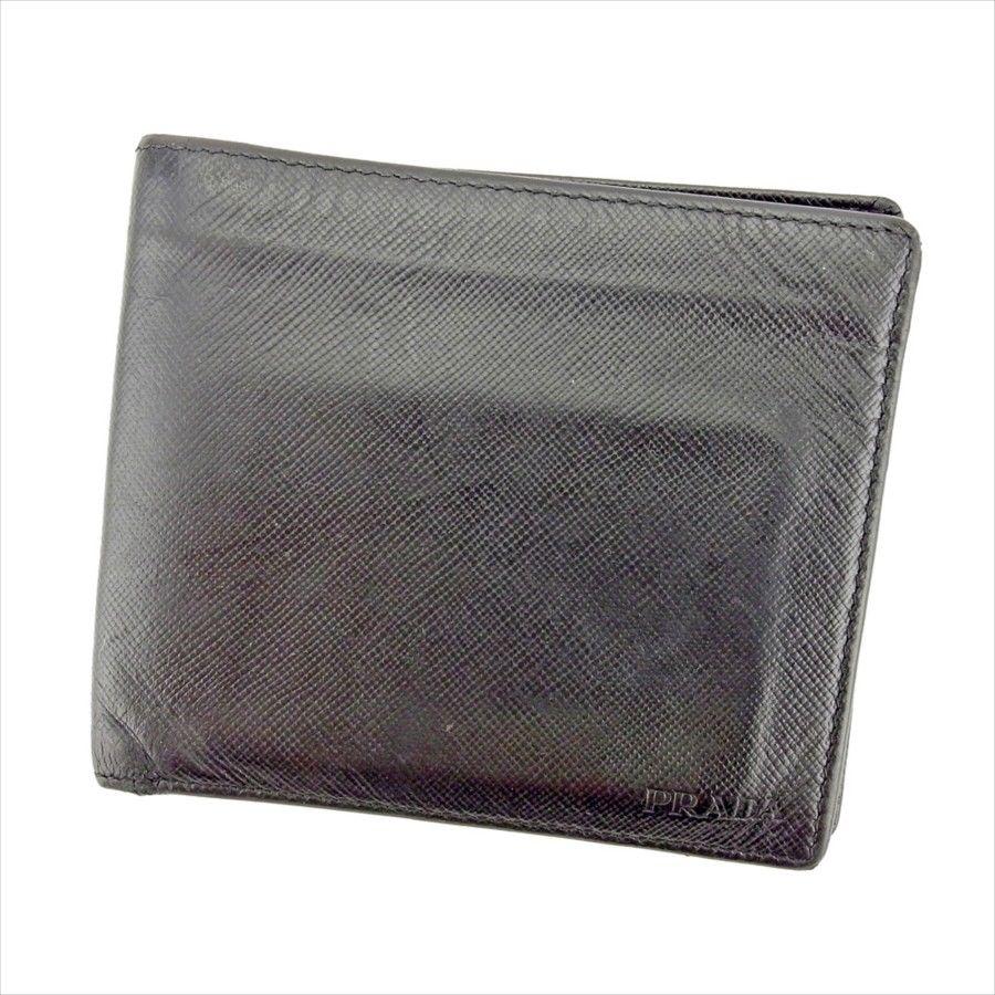 【中古】 【送料無料】 プラダ 二つ折り 札入れ メンズ ロゴ ブラック サフィアーノレザー Prada T4388 .