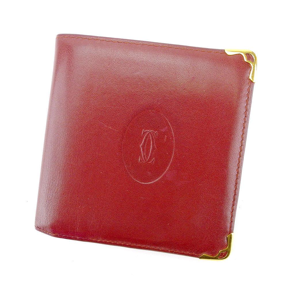 【中古】 【送料無料】 カルティエ 二つ折り 財布 レディース メンズ 可 マストライン ボルドー×ゴールド レザー Cartier T4410 .