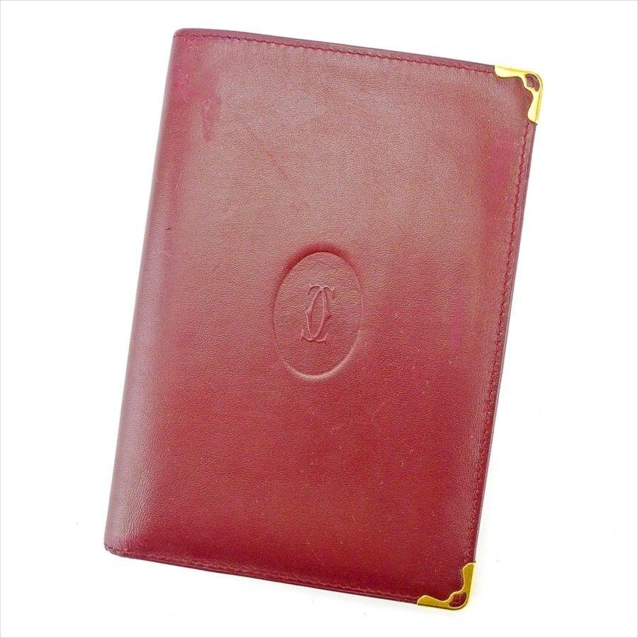 【中古】 【送料無料】 カルティエ Cartier パスポートケース 札入れ レディース メンズ 可 マストライン ボルドー×ゴールド レザー 人気 T4471 .