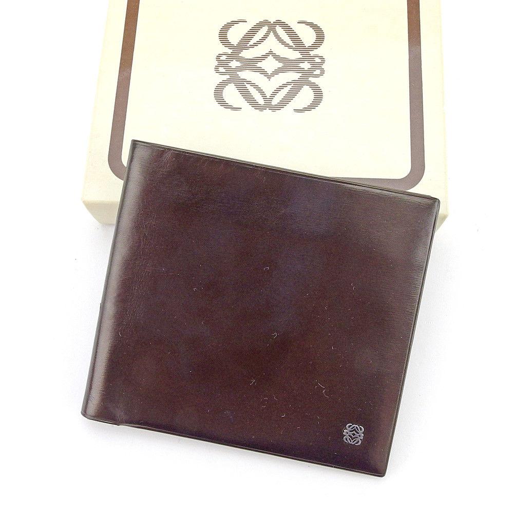 【中古】 【送料無料】 ロエベ LOEWE 二つ折り 札入れ メンズ アナグラム ダークブラウン×ブラックシルバー系 レザー 人気 T4528