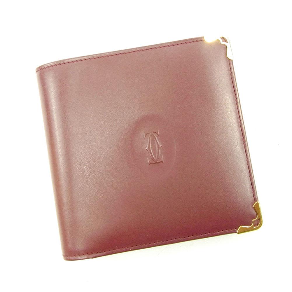 【中古】 【送料無料】 カルティエ 二つ折り 財布 レディース メンズ 可 マストライン ボルドー×ゴールド レザー Cartier T4617 .