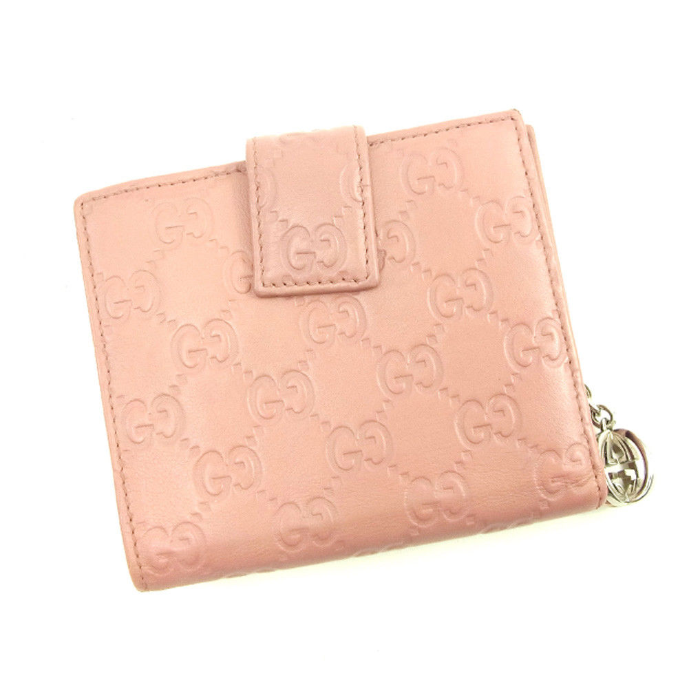 夏 プレゼント 中古 期間限定の激安セール グッチ Wホック財布 二つ折り 財布 GUCCI 本物 ピンク . レザー グッチシマ T4642