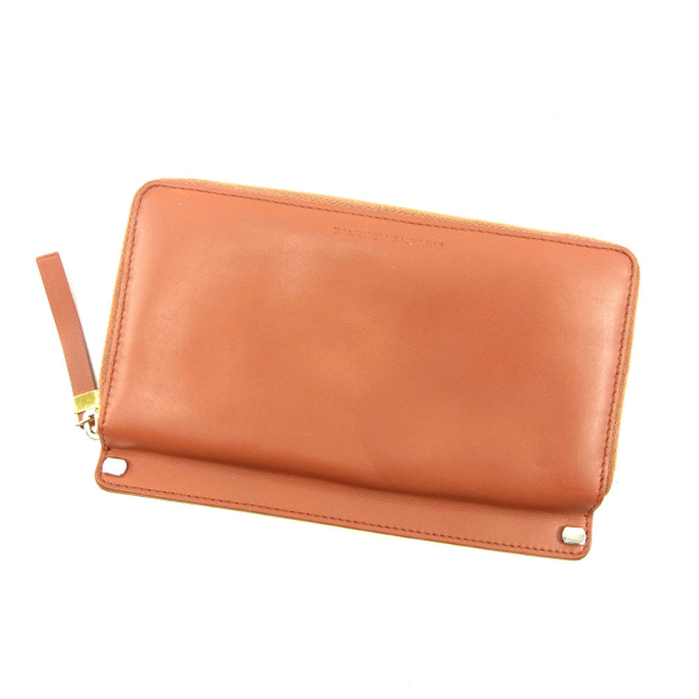 d1f1fe46c694 バレンシアガ BALENCIAGA long wallet round fastener lady s men s possible orange  system leather popularity sale T4695