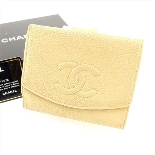 【中古】 【送料無料】 シャネル Wホック 財布 二つ折り レディース メンズ 可 ココマーク オールドシャネル ベージュ キャビアスキン Chanel T4946 .