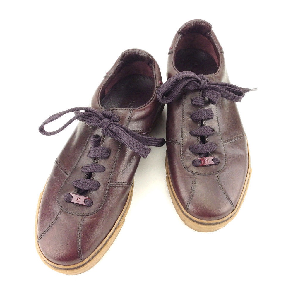 026a66a825bb0c Leather quality goods sale T5054 of Louis Vuitton Louis Vuitton sneakers shoes  shoes men ♯ 5 low-frequency cut LV plate dark Bordeaux X beige X Brown line