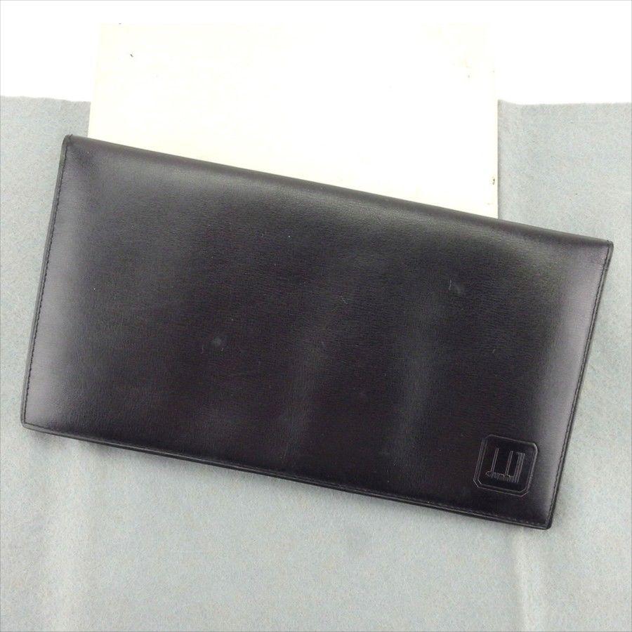 【中古】 【送料無料】 ダンヒル dunhill 長札入れ 札入れ メンズ ロゴ ブラック レザー 人気 T5130