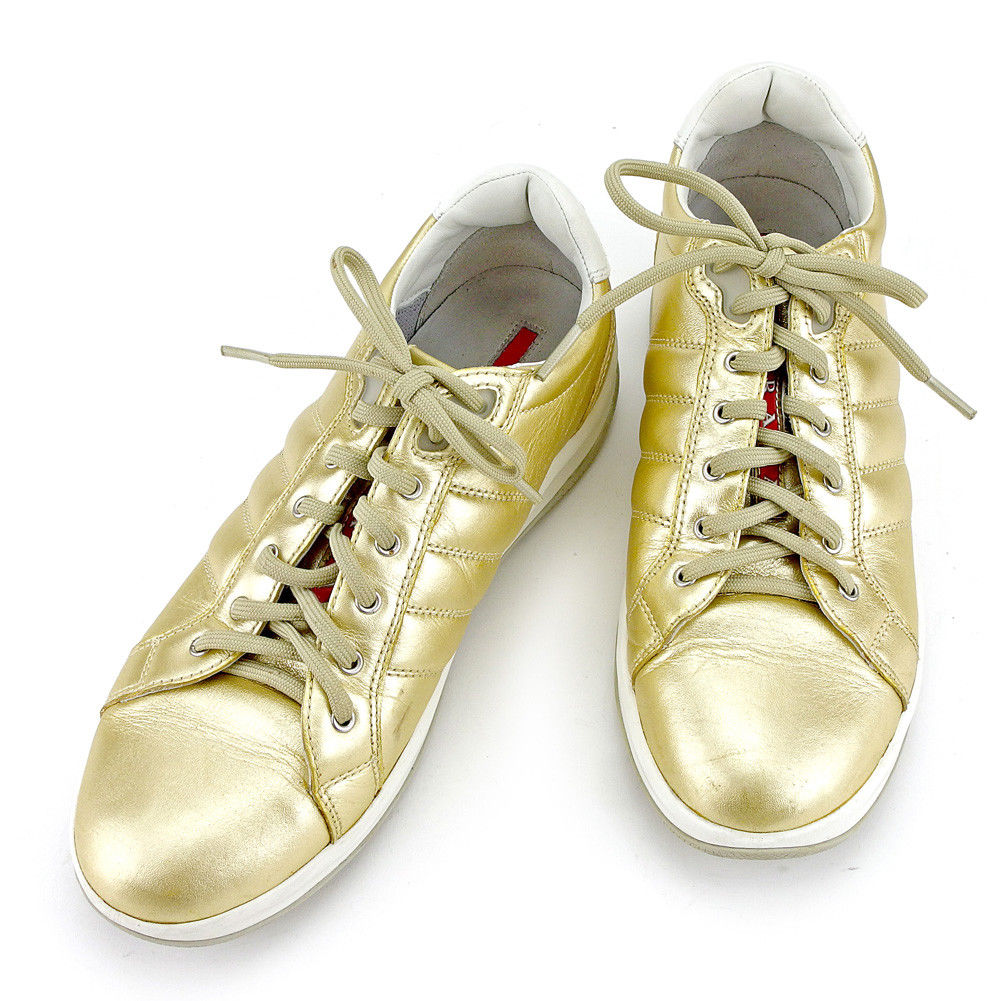 c8d96a40 Prada PRADA sneakers shoes shoes Lady's ♯ 37.5 low-frequency cut sports  Rhein Gold white white red system leather X rubber quality goods sale T5189