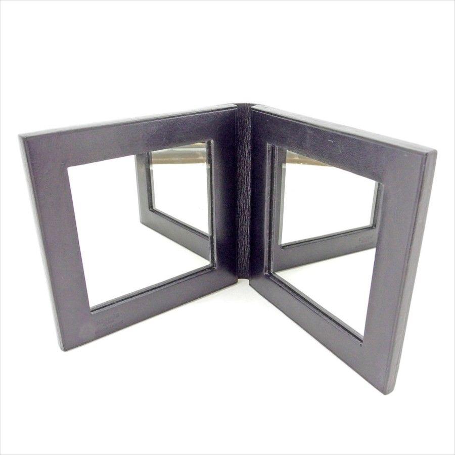 【中古】 【送料無料】 エルメス HERMES コンパクトミラー ミラー 鏡 レディース メンズ 可 ダブルミラー ブラック レザー 人気 T5194 .