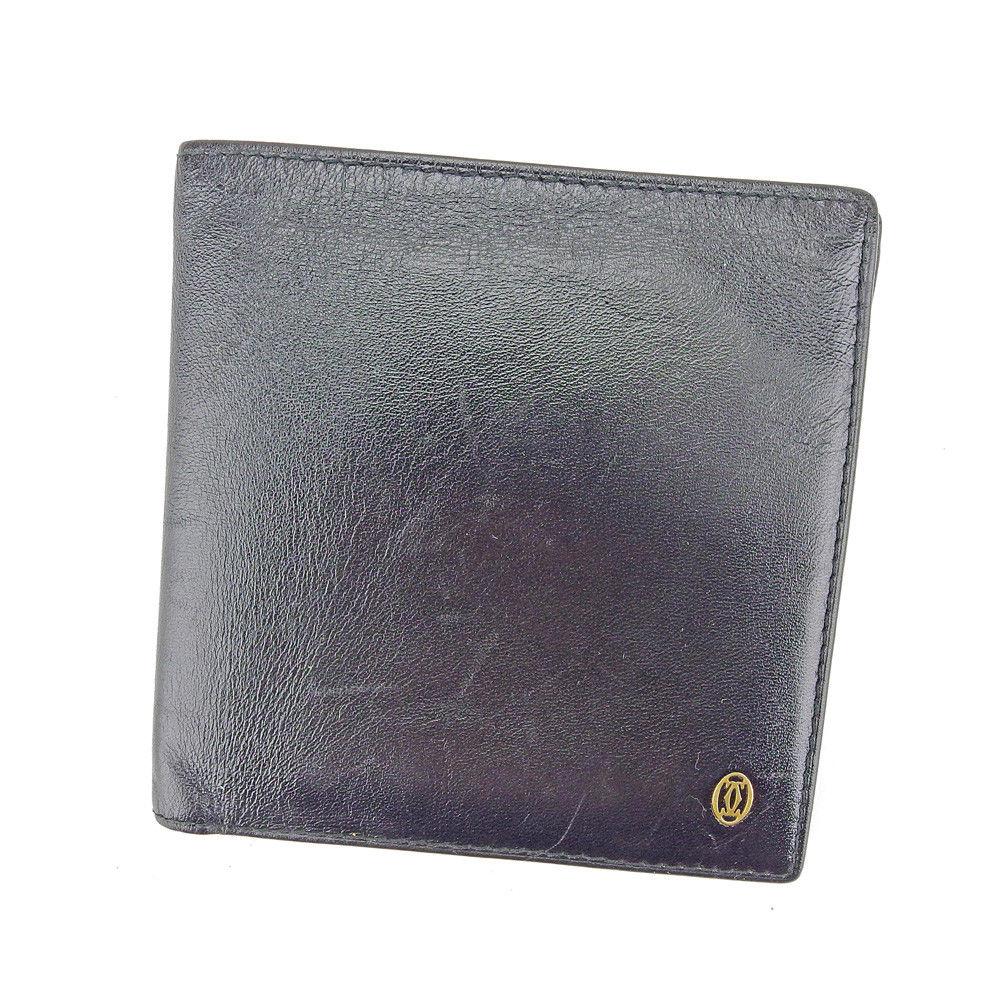 【中古】 【送料無料】 カルティエ Cartier 二つ折り 財布 メンズ パシャ ブラック ゴールド レザー 人気 T5197 .