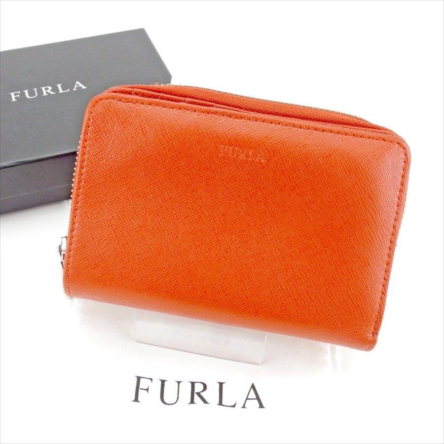 200bbdfdc3c8 【中古】 【送料無料】 フルラ FURLA 二つ折り 財布 ラウンドファスナー レディース ロゴ