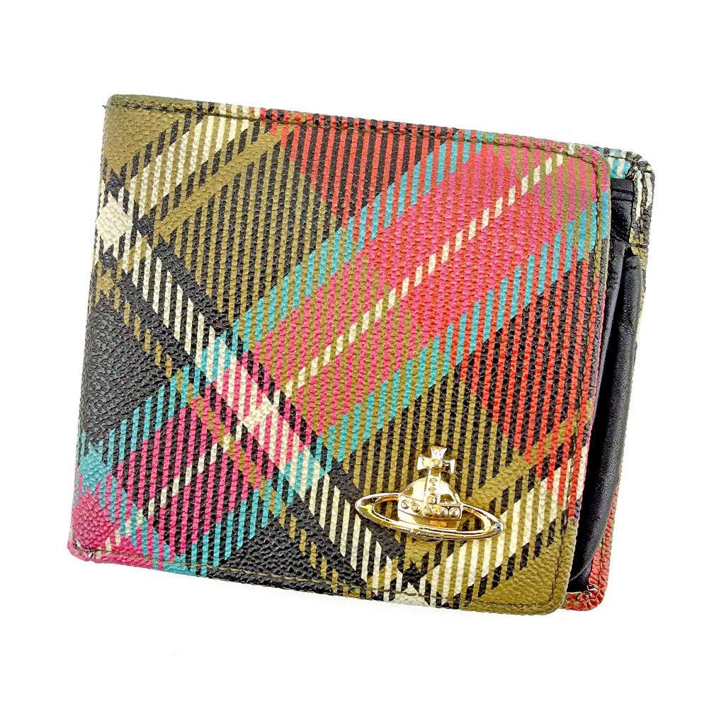 【中古】 【送料無料】 ヴィヴィアン ウエストウッド 二つ折り 財布 レディース メンズ 可 チェック オーブ レッド グリーン ブラック系 PVC×レザー Vivienne Westwood T5253 .