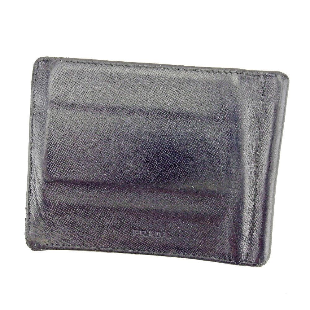 【中古】 【送料無料】 プラダ 二つ折り 札入れ マネークリップ メンズ ロゴ ブラック シルバー レザー Prada T5254 .