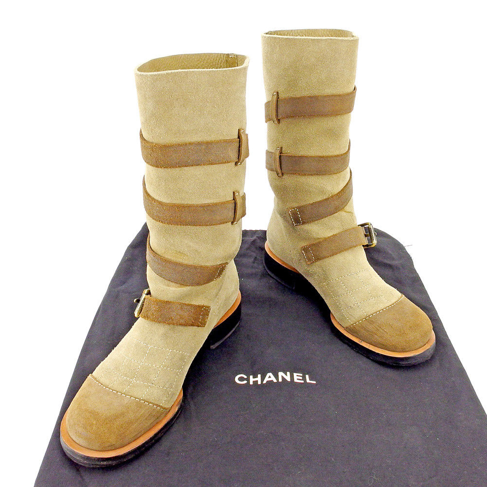 シャネル ブーツ シューズ 靴 レディース ベルトデザイン ♯36ハーフ ワーク ミドル ベージュ ブラウン ゴールド スエード Chanel T5284 .
