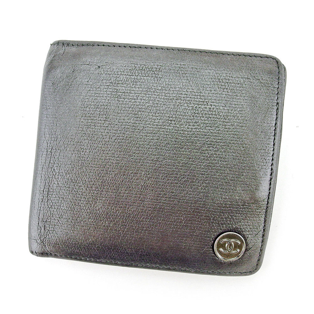 【中古】 【送料無料】 シャネル 二つ折り 財布 ブラック シルバー T5363s .