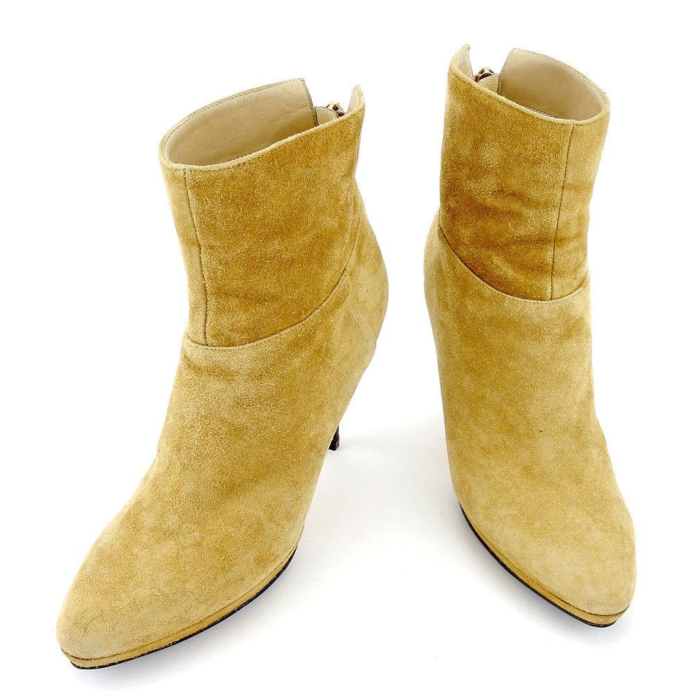 【スーパーSALE】 【20%OFF】 【中古】 【送料無料】 ジミーチュウ ブーツ シューズ 靴 レディース ショート ♯36 バックZIP ピンヒール ベージュ ブラウン ゴールド スエード Jimmy Choo T5402