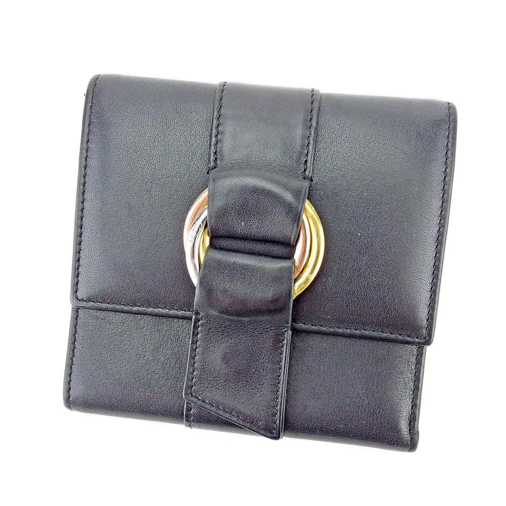 【中古】 【送料無料】 カルティエ Cartier 三つ折り 財布 レディース メンズ 可 トリニティ ブラック シルバー ゴールド系 レザー 良品 T5486